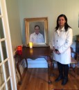 Boston portrait artist Sonia Hale's framed oil painting, a posthumous portrait commission