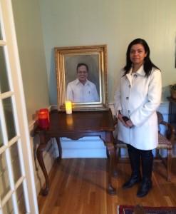 Boston portrait artist Sonia Hale's framed oil painting, a posthumous portrait commission