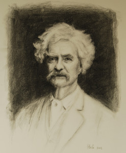 Charcoal of Mark Twain by charcoal portrait artist Sonia Hale, hand drawn portraits.