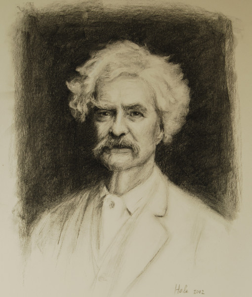 Charcoal of Mark Twain by charcoal portrait artist Sonia Hale