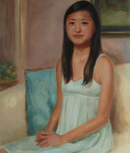 Oil Portraits, Boston portrait artist Sonia Hale's framed oil painting of a teenager.