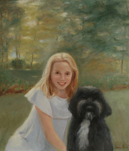 Oil portraits, portrait artist, girl with dog painting