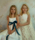 Portrait Artist of two young girls by family portrait painter Sonia Hale