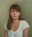 Boston portrait artist Sonia Hale's framed oil painting of a teenager.