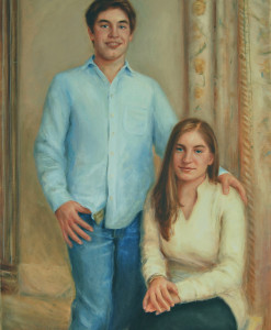 Portrait Artists, Family painting of Alex and Sabrina, Oil portrait by Boston portrait artist Sonia Hale