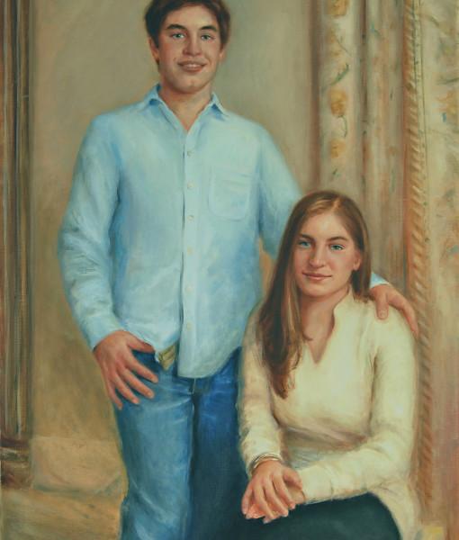 Portrait Artists, Family painting of Alex and Sabrina, Oil portrait by Boston portrait artist Sonia Hale