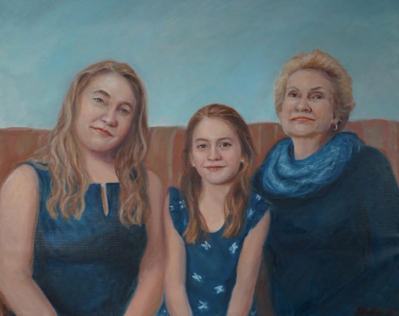 Triple portrait, Mother, Daughter, Granddaughter, Sonia Hale portrait, best portrait artists, Boston portrait artist